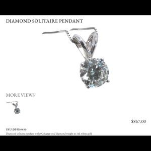 Jewelry - Diamond Solitaire Pendant Necklace